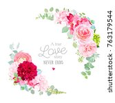floral vector round frame with... | Shutterstock .eps vector #763179544