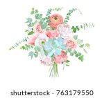 watercolor style flowers... | Shutterstock .eps vector #763179550