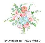 watercolor style flowers... | Shutterstock .eps vector #763179550