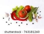 red bitter pepper cucumber and... | Shutterstock . vector #763181260