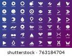 modern minimal vector logo for... | Shutterstock .eps vector #763184704