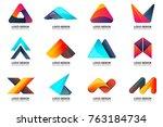 modern minimal vector logo for... | Shutterstock .eps vector #763184734