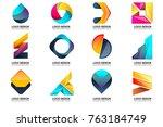 modern minimal vector logo for... | Shutterstock .eps vector #763184749