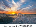 shorebreak waves crashing onto...   Shutterstock . vector #763184968