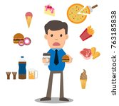 business man unhappy hungry... | Shutterstock .eps vector #763185838