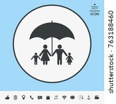family under umbrella   family... | Shutterstock .eps vector #763188460