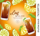 Set of Alcohol Drinks and Cocktails : Long Island iced Tea : Vector Illustration