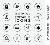 set of 14 eco filled icons such ...