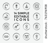 set of 14 energy outline icons... | Shutterstock .eps vector #763196908
