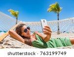 summer beach lifestyle young... | Shutterstock . vector #763199749