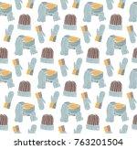 seamless pattern of hats ... | Shutterstock .eps vector #763201504