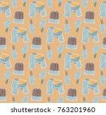 seamless pattern of hats ... | Shutterstock .eps vector #763201960