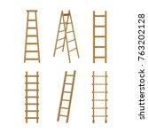 realistic detailed 3d wooden... | Shutterstock .eps vector #763202128