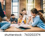 group of asian and multiethnic... | Shutterstock . vector #763202374