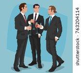 three fashionable men in black... | Shutterstock .eps vector #763204114