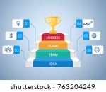stair step to trophy and... | Shutterstock .eps vector #763204249