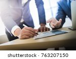 business partners discussing... | Shutterstock . vector #763207150