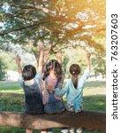 happy kids in the park having... | Shutterstock . vector #763207603