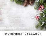 christmas background with snow... | Shutterstock . vector #763212574