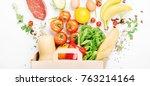 full paper bag of different... | Shutterstock . vector #763214164