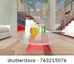 3d cg rendering of the living... | Shutterstock . vector #763215076