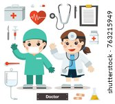 set of characters of doctor... | Shutterstock .eps vector #763215949
