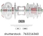 travel tour to london poster... | Shutterstock .eps vector #763216360
