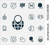 eco friendly icons set with... | Shutterstock .eps vector #763218088
