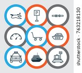 vehicle icons set with roadsign ... | Shutterstock .eps vector #763218130