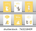 set of baby shower invitations... | Shutterstock .eps vector #763218409