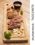 top view of grilled beef... | Shutterstock . vector #763219870