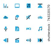 multimedia colorful icons set... | Shutterstock .eps vector #763220170