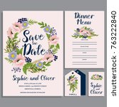 wedding invitation card suite... | Shutterstock .eps vector #763222840