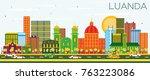 luanda angola skyline with...   Shutterstock . vector #763223086