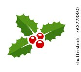 holly berry leaves christmas... | Shutterstock .eps vector #763223860