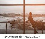 silhouette of happy boy.relax...   Shutterstock . vector #763225174