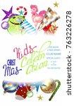 christmas kids celebration... | Shutterstock .eps vector #763226278