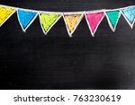 colorful chalk drawing in... | Shutterstock . vector #763230619