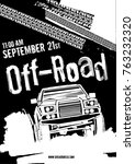 off road event vector poster.... | Shutterstock .eps vector #763232320