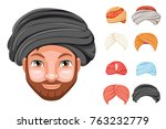 photo decoration turban fashion ... | Shutterstock .eps vector #763232779