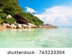 lagoon boulders beautiful sea  | Shutterstock . vector #763233304