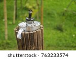 vintage lantern in the bamboo... | Shutterstock . vector #763233574