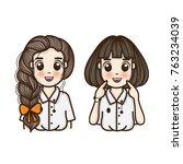 student cute girl. vector... | Shutterstock .eps vector #763234039