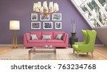interior living room. 3d...   Shutterstock . vector #763234768