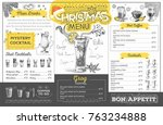 vintage christmas menu design.... | Shutterstock .eps vector #763234888