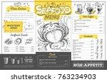 vintage seafood menu design.... | Shutterstock .eps vector #763234903