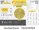 vintage holiday christmas menu... | Shutterstock .eps vector #763234969
