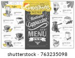 vintage christmas menu design.... | Shutterstock .eps vector #763235098