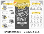 vintage holiday christmas menu... | Shutterstock .eps vector #763235116