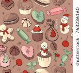 seamless pattern with christmas ... | Shutterstock .eps vector #763236160